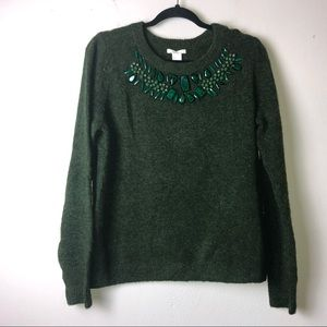 H&M Dark Green Sweater Gem Collar Detailing